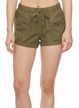 Drawstring Shorts with Zippered Side Pockets - OLIVE - 1060051061603