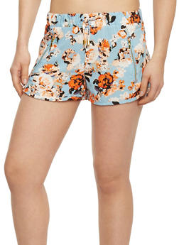 Floral Shorts with Zipper Pockets - BLUE 20880 - 1060051061610