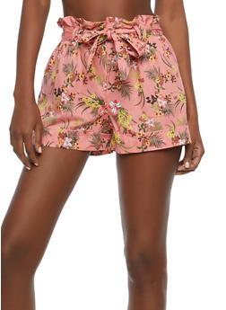 Floral Paperbag Hem Shorts - 1060051061677