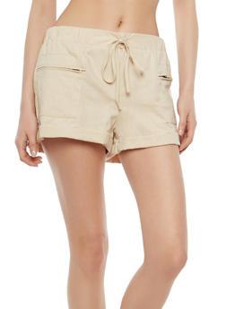 Zip Pocket Linen Shorts - 1060051061696