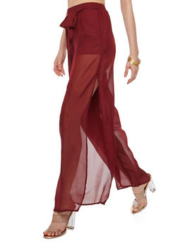 Tie Front Side Slit Palazzo Pants - 1060051063689