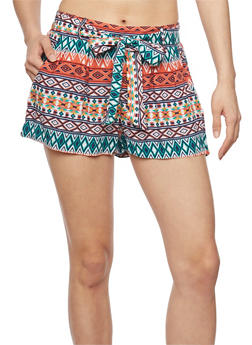 Printed Tie Front Shorts - NAVY TIEDYE - 1060051065403