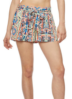 Printed Tie Front Shorts - ORANGE - 1060051065403