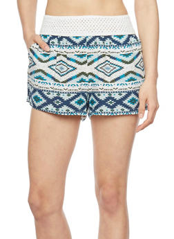 Printed Shorts with Crochet Trim - NAVY - 1060051065417
