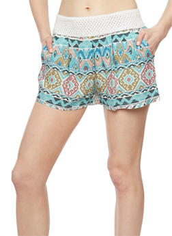 Printed Shorts with Crochet Trim - MAUVE - 1060051065417