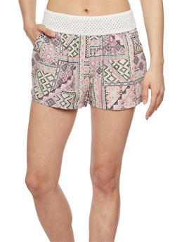 Printed Shorts with Crochet Trim - PINK - 1060051065417
