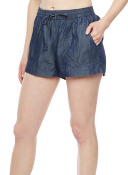 Smocked Chambray Drawstring Waist Shorts with Pork Chop Pockets - DARK WASH - 1060051065467