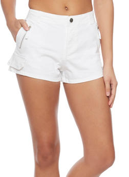 Solid Twill Shorts with Faux Cargo Pocket Flap - 1060051065596