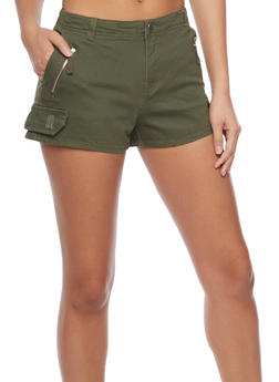 Solid Twill Shorts with Faux Cargo Pocket Flap - OLIVE - 1060051065596