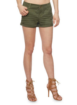 Basic Twill Shorts with Rolled Cuffs - OLIVE - 1060051065613