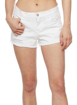Distressed Denim Cut Off Shorts - WHITE - 1060051065615
