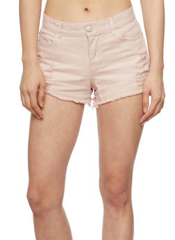 Distressed Denim Cut Off Shorts - MAUVE - 1060051065615