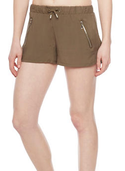 Drawstring Waist Shorts with Zipper Accents - OLIVE - 1060051066091
