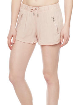 Drawstring Waist Shorts with Zipper Accents - 1060051066091