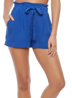 Paperbag Waist Linen Shorts - 1060054260402