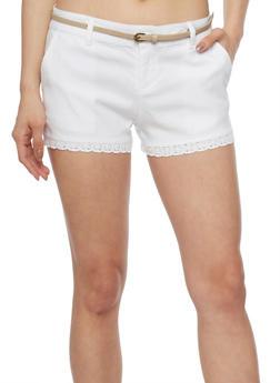 Twill Shorts with Crochet Hem and Belt - WHITE/KHAKI - 1060054263275