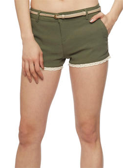 Twill Shorts with Crochet Hem and Belt - OLIVE/KHAKI - 1060054263275