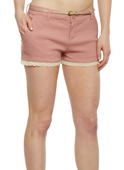 Twill Shorts with Crochet Hem and Belt - 1060054263275