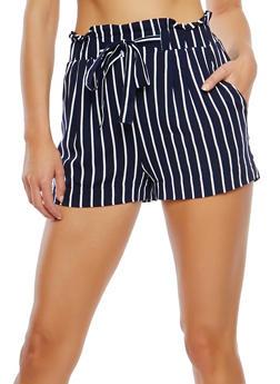 Striped Paperbag Waist Shorts - 1060054264462