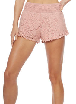Crochet and Lace Shorts with Waistband Details - 1060054266760