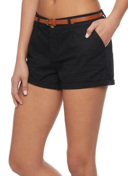 Belted Cuffed Twill Shorts - BLACK - 1060054266811