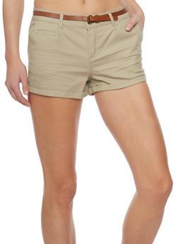 Belted Cuffed Twill Shorts - KHAKI - 1060054266811