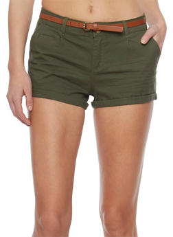 Belted Cuffed Twill Shorts - OLIVE - 1060054266811