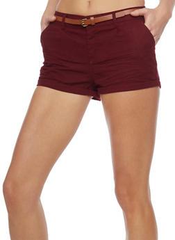 Belted Cuffed Twill Shorts - BURGUNDY - 1060054266811