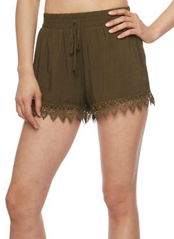 Casual Soft Knit Crochet Trim Shorts - OLIVE - 1060054266919