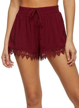 Casual Soft Knit Crochet Trim Shorts - BURGUNDY - 1060054266919