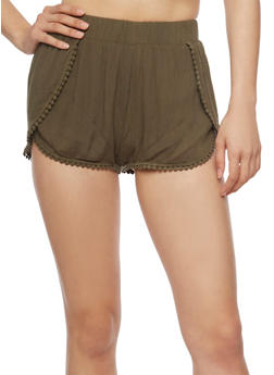 Tulip Hem Shorts with Crochet Trim - OLIVE - 1060054269196