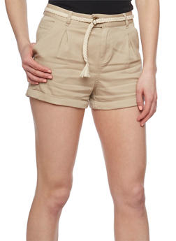 Twill Shorts with Braid Belt - 1060054269394