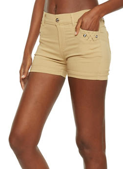 Braided Pocket Detail Shorts with Rhinestone Accents - 1060072718961