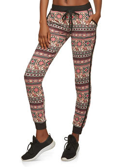 Soft Knit Printed Joggers - 1061015992034
