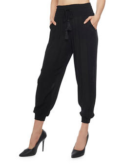 Smocked Waist Crinkle Knit Joggers with Drawstring - 1061015995649