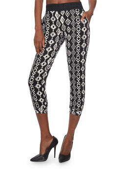 Aztec Print Capri Jogger Pants with Crochet Detail - 1061015999179