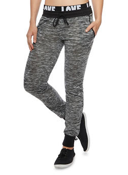 Marled Knit Joggers with Love Print Waistband - 1061015999599