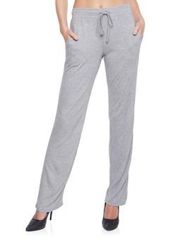 Elastic Waist Gauze Knit Pants - GRAY - 1061015999888