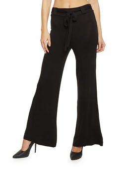 Wide Leg Palazzo Pants with Tie Belt - BLACK - 1061020623938