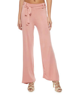 Wide Leg Palazzo Pants with Tie Belt - 1061020623938