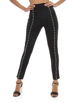 High Waisted Faux Pearl Dress Pants - 1061020626230