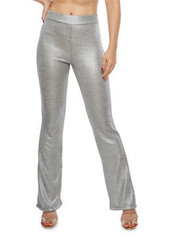 Metallic Knit Flared Pants - 1061020626347