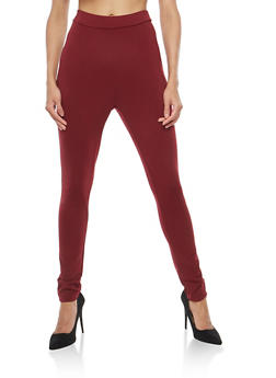 Pleated Front Skinny Pants - WINE - 1061020626793