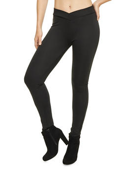 Leggings with V Waist Detail - 1061020628763
