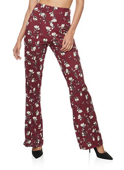 Floral Pleated Dress Pants - 1061020629147