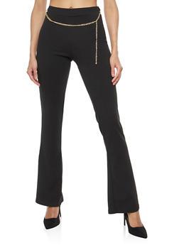 Crepe Knit Chain Belt Flared Pants - 1061020629273