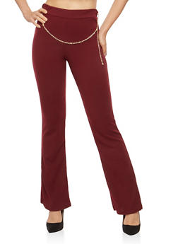 Crepe Knit Chain Belt Flared Pants - WINE - 1061020629273
