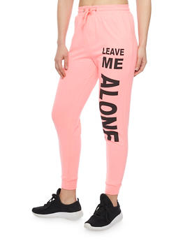 Leave Me Alone Graphic Drawstring Joggers - 1061033870090