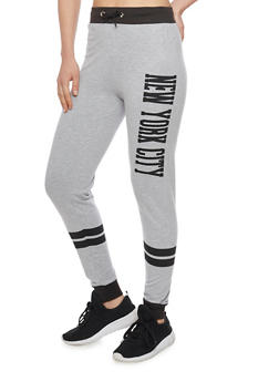 New York City Graphic Varsity Stripe Joggers - 1061033872003