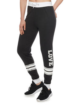 Varsity Stripe Love Graphic Joggers - 1061033872011